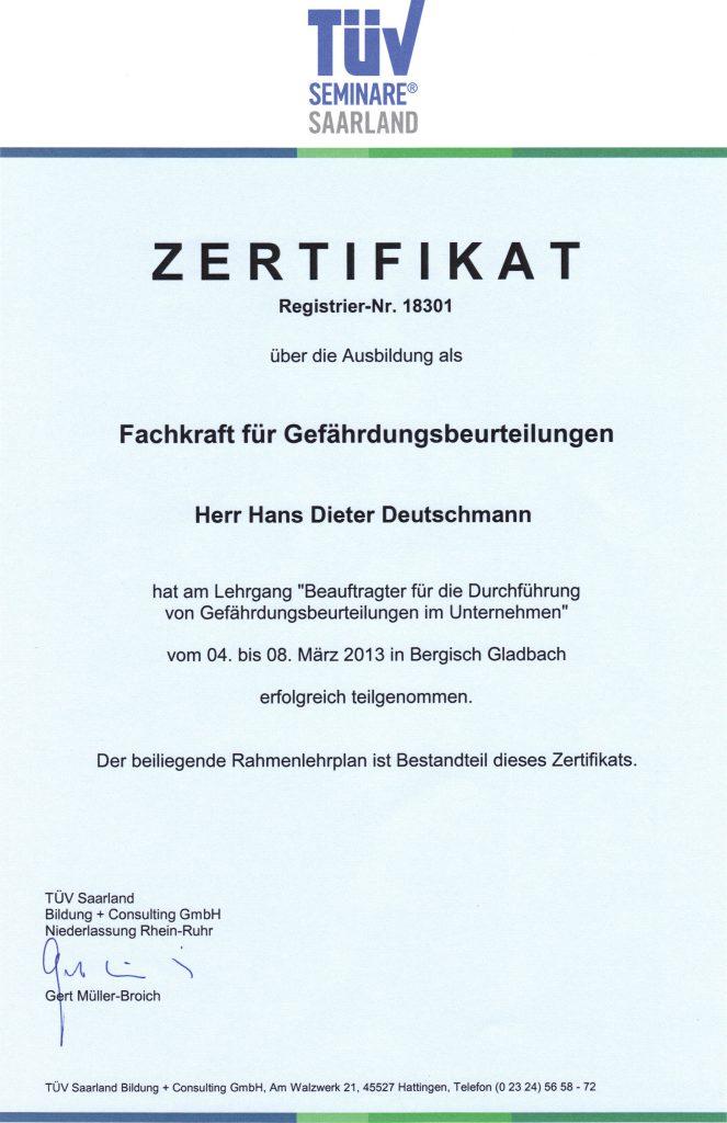 Zertifikat Fachkraft für Gefährdungsbeurteilungen